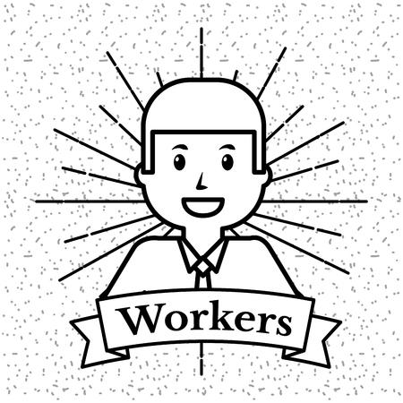 A worker in grunge style and sunburst background vector illustration Stock Illustratie