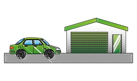 Car sedan near green power station vector illustration drawing