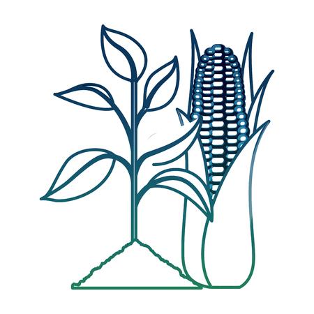 Plant maïs ecologie energie biobrandstof vector illustratie aangetaste kleur