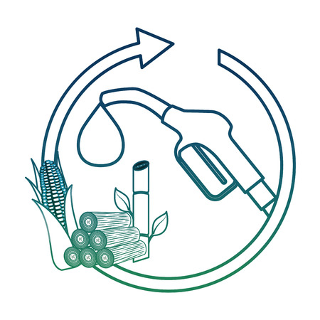 Benzine pomp mondstuk maïskolf suikerriet cyclus vector illustratie aangetaste kleur