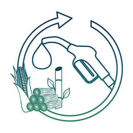 Gasoline pump nozzle corn cob sugar cane cycle vector illustration degraded color Illustration
