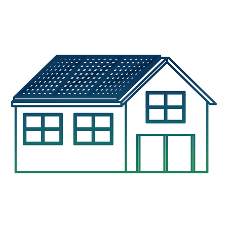 House with solar panel in roof ecology energy alternative vector illustration degraded color