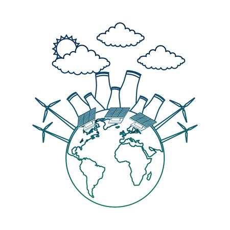 Planeet wereld aarde met energie biobrandstof hernieuwbare bronnen vector illustratie aangetaste kleur Stock Illustratie