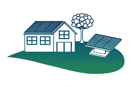 House with solar panel leafy tree ecology energy alternative vector illustration in degraded color. Reklamní fotografie - 99339332