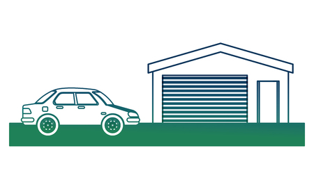 Car in color green with power station image vector illustration in degraded color