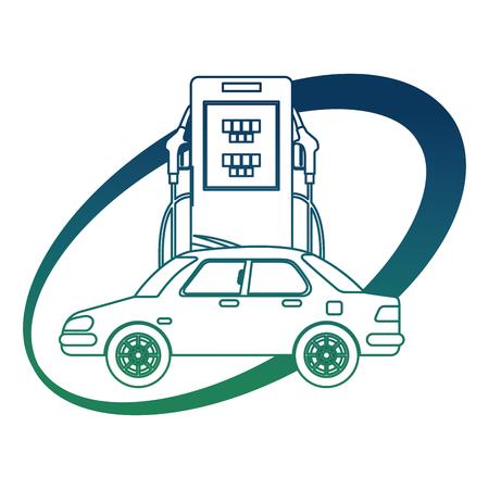 Car transport station pump ecology energy alternative vector illustration in degraded color