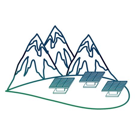 Ecologie de l & # 39 ; énergie des montagnes et de l & # 39 ; énergie alternative panneau grunge illustration Banque d'images - 99339343