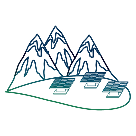 Ecology energy alternative mountains and solar panel vector illustration degraded color Illustration