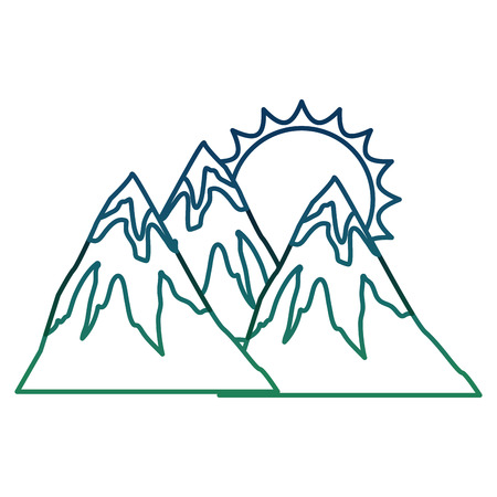 Mountains peak snow sun natural landscape vector illustration degraded color  イラスト・ベクター素材