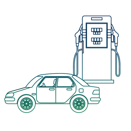 Transport car and station gas pump vector illustration in degraded color