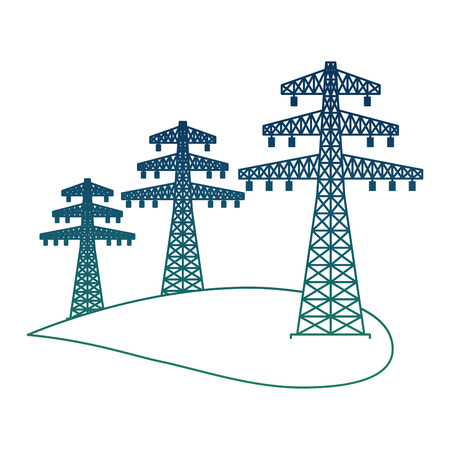 Ecology energy alternative with high voltage power line electricity vector illustration degraded color Vettoriali
