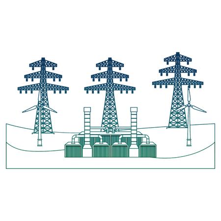 Eine geothermische Stationsbetriebsmittelvektorillustration des Energiealternativstromturms verringerte Farbe Standard-Bild - 99356798