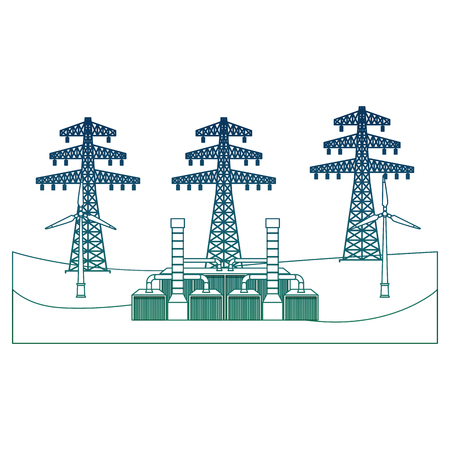 An energy alternative electricity tower geothermal station resources vector illustration degraded color
