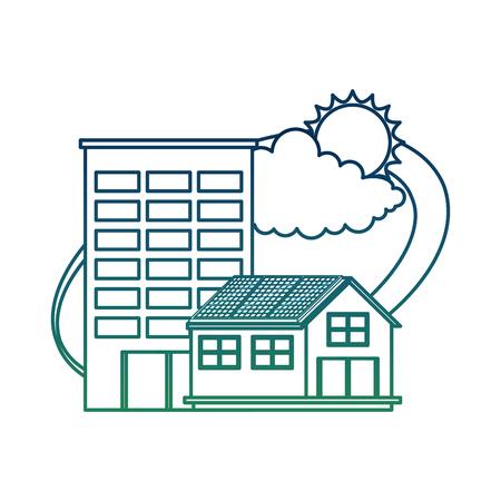 Bâtiment de l & # 39 ; énergie de la route alternative avec soleil et nuage de couleur vecteur illustration gradient Banque d'images - 99356800