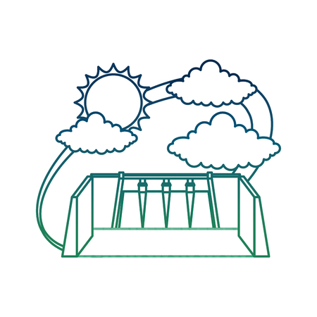Energy alternative hydroelectric power station with clouds and sun vector illustration degraded color