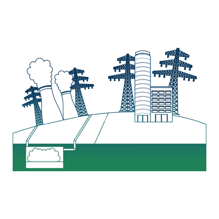 Nuclear station electricity tower and building energy alternative vector illustration degraded color