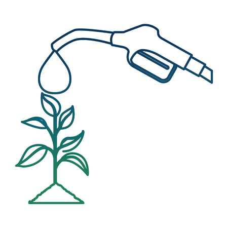A nozzle with drop of oil pouring on plant vector illustration degraded color