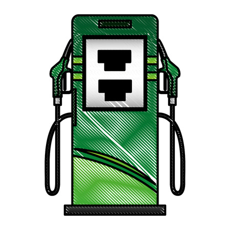 An energy alternative station pump with nozzles vector illustration drawing