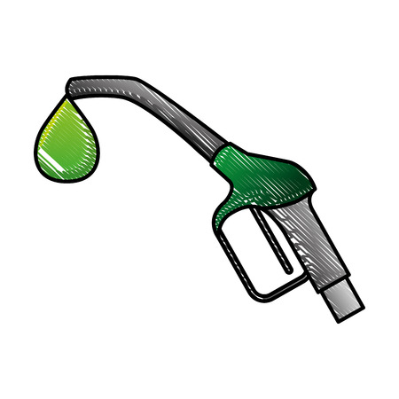 Biofuel pump nozzle sustainable vector illustration drawing