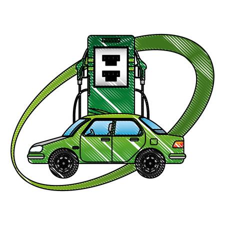 駅エネルギー代替ベクトルイラスト図面内の車