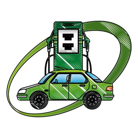 A car in station energy alternative vector illustration drawing Illustration