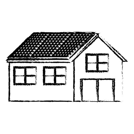 House with solar panel in roof energy alternative vector illustration sketch