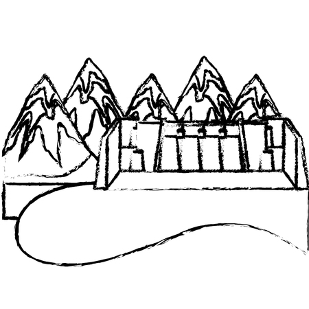 Mountains hydroelectric station power energy alternative vector illustration sketch