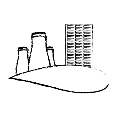 Nuclear power station vector illustration sketch Stock Illustratie
