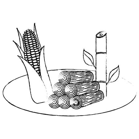 Un maïs de l & # 39 ; énergie alternative et de la terre sucre canne vecteur illustration de croquis Banque d'images - 99356832