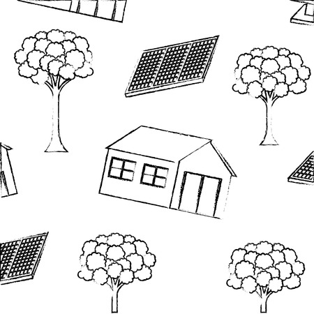 House, tree and solar panel pattern vector illustration sketch