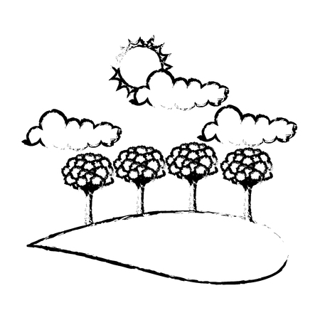 Forest with trees, clouds and sun vector illustration sketch
