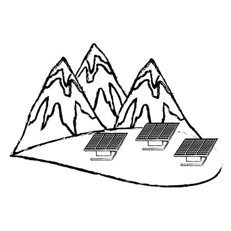 Montagnes et panneaux solaires illustration vectorielle croquis Banque d'images - 99356840