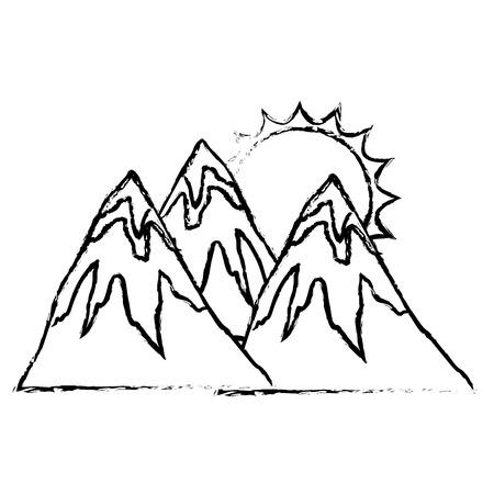 雪と太陽の自然景観ベクトルイラストスケッチを持つ山々