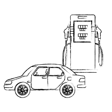 A transport car sedan and station gas pump vector illustration sketch