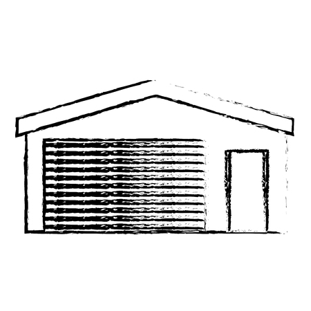 A garage storage vector illustration sketch