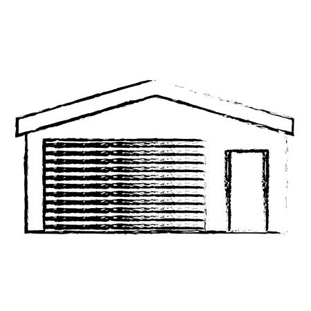 A garage storage vector illustration sketch
