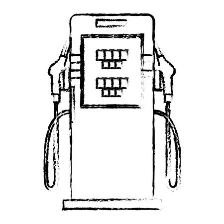 ノズルベクトルイラストスケッチ付きエコロジーエネルギー代替ステーションポンプ  イラスト・ベクター素材