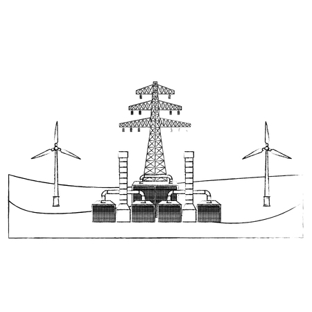 Eectricity tower geothermal station resources vector illustration sketch Иллюстрация