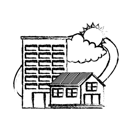 House and building with sun and cloud vector illustration sketch