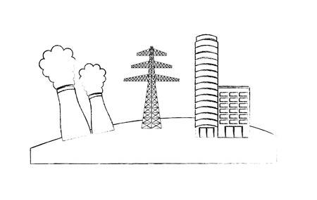 Nuclear station electricity tower and building house vector illustration sketch