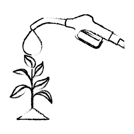 A nozzle pouring on plant ecology vector illustration sketch