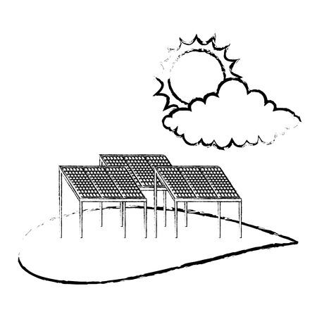 Ekologia energia alternatywna zrównoważony panel słoneczny chmura i słońce wektor ilustracja szkic