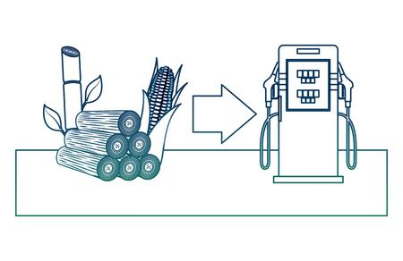 Biobrandstofstation met benzinepomp, maïskolf en suikerriet vectorillustratie in gedegradeerde kleur.