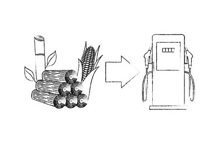 Biobrandstofstation met benzinepomp, maïskolf en suikerriet vector schets illustratie.