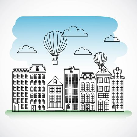 Architecture elements with vintage neighborhood and hot air balloons flying in sky. Archivio Fotografico - 99340341