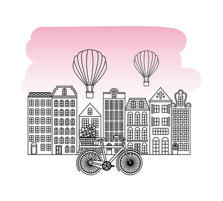 Architecture buildings retro style with bicycle and hot air balloons Illustration