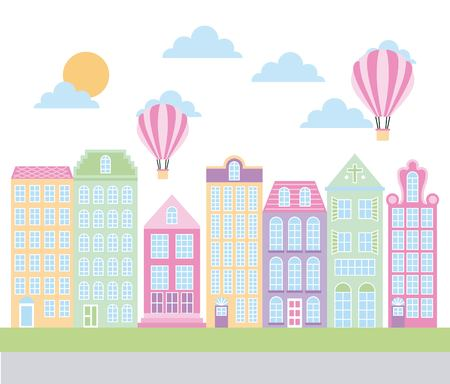 Architecture old buildings with hot air balloons.