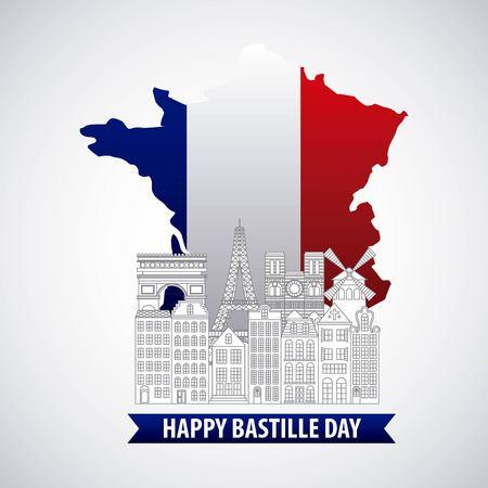 France paris architecture monuments landmark map flag french bastille day Illustration