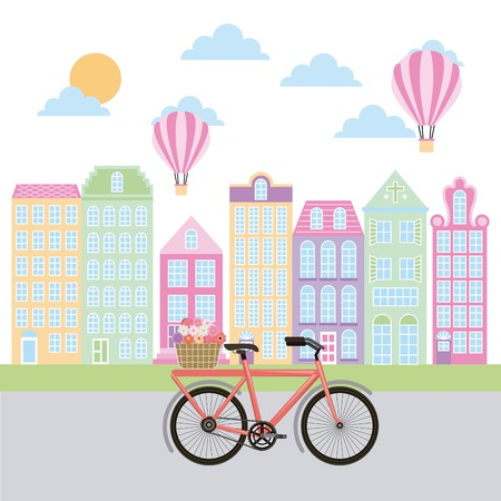 France paris architecture high retro buildings bike with flowers