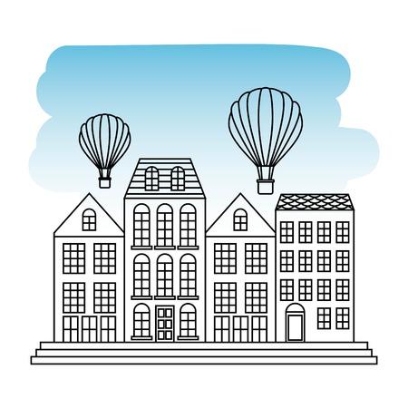 France paris architecture landmark antique facade hot air balloons travel